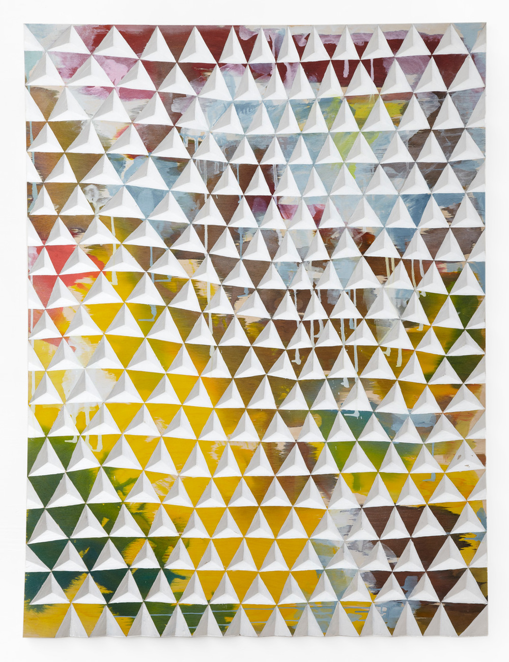 Gerard Mullin, Untitled, 2013, watercolor, wood dye acrylic on wood, 48 x 35 3/4 inches
