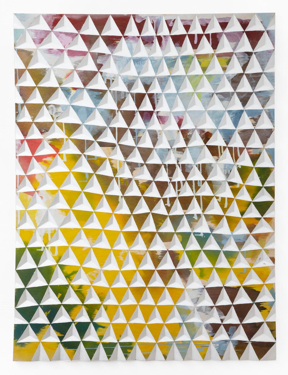 Gerard Mullin, Untitled, 2013, watercolor, wood dye acrylic on wood, 48 x 35 3/4 inches