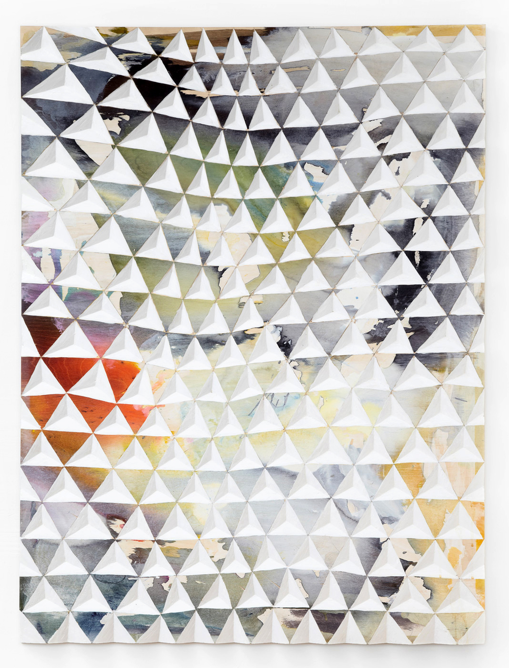 Gerard Mullin, Untitled, 2013, watercolour, wood dye acrylic on wood, 48 x 36 inches