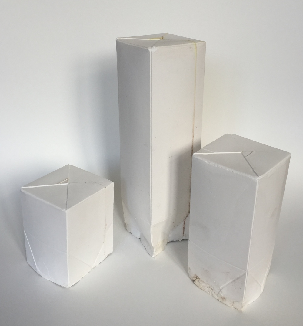 Poul Gernes, No title, Plaster milk cartons,c. 1978, 0,5 liter,2,5 liter, and 1 liter