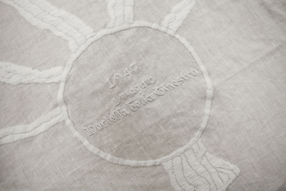 Goldschmied & Chiari,  Genealogia di Damnatio Memoriae, Palermo 1947-1992  (detail),   2011, Embroidered linen, 98.43 x 125.98 inches (250 x 320 cm), GC1001