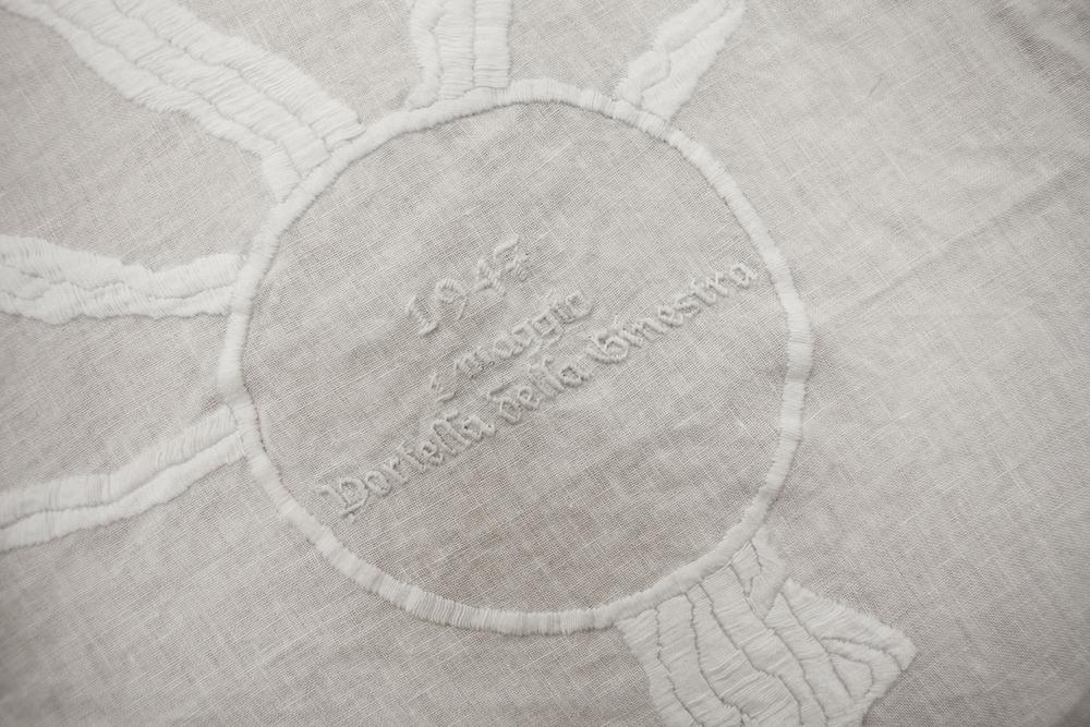 Goldschmied & Chiari, Genealogia di Damnatio Memoriae, Palermo 1947-1992  (detail),  2011, Embroidered linen, 98.43 x 125.98 inches (250 x 320 cm), GC1001
