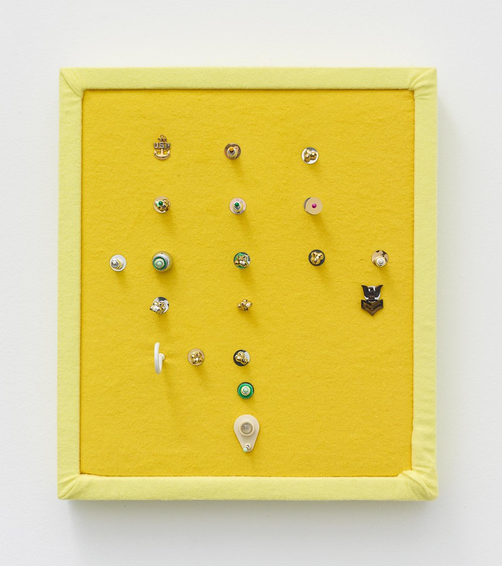 Brock Enright, Lemon Code, 2017, Mixed media on felt, 16 x 14 x 2 in.