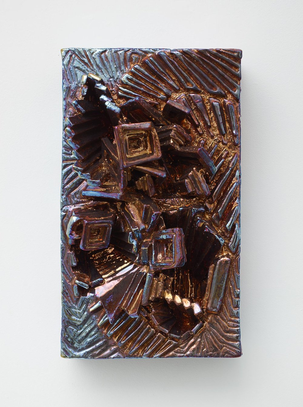 Julia Kunin,   Copper and Blue Portrait , 2014, Ceramic, 15 x 9 x 6 inches