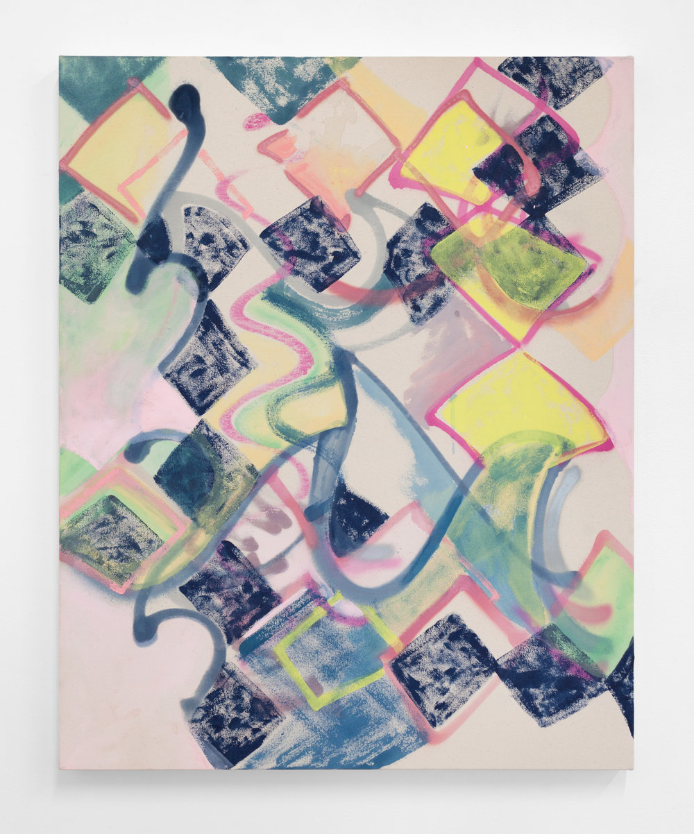Lauren Portada,  Standing Wave II , 2017, Acrylic and spray paint on canvas, 30 x 24 inches