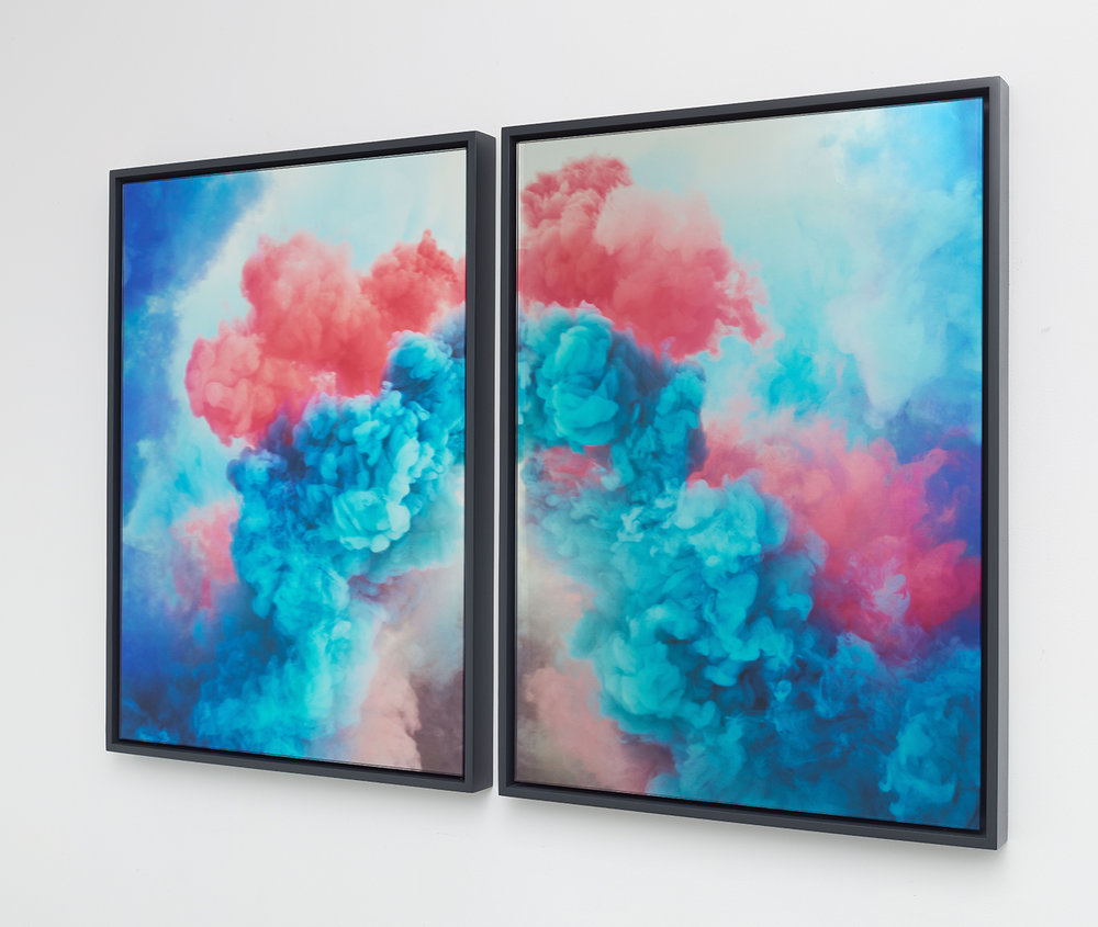 Goldschmied & Chiari   Untitled View , 2017 Digital print on glass and glass mirror Diptych: each panel 37 x 27 3/8 inches, overall dimensions 37 x 56 inches GOC1071
