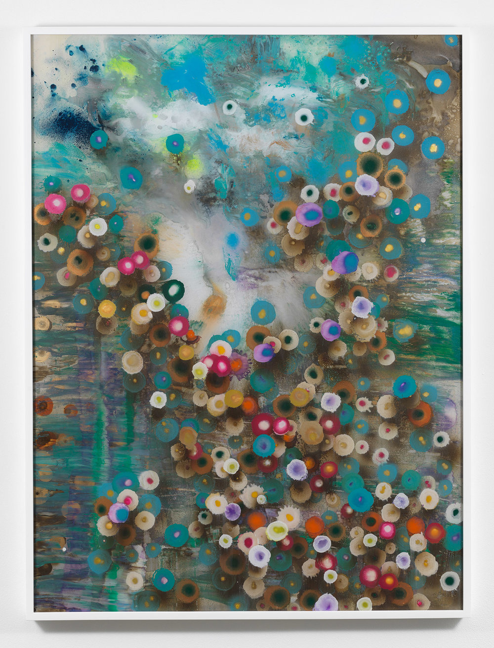Giacinto Occhionero  Debris Landing , 2017 Spray paint on plexiglass 40 x 30 inches (101.6 x 76.2 cm)