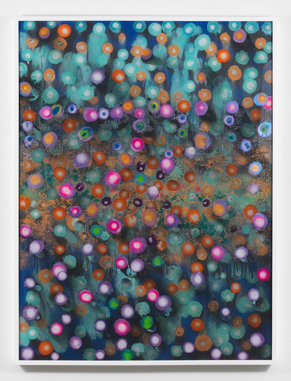 Giacinto Occhionero  The Last Purple , 2017 Spray paint on plexiglass 40 x 30 inches (101.6 x 76.2 cm)