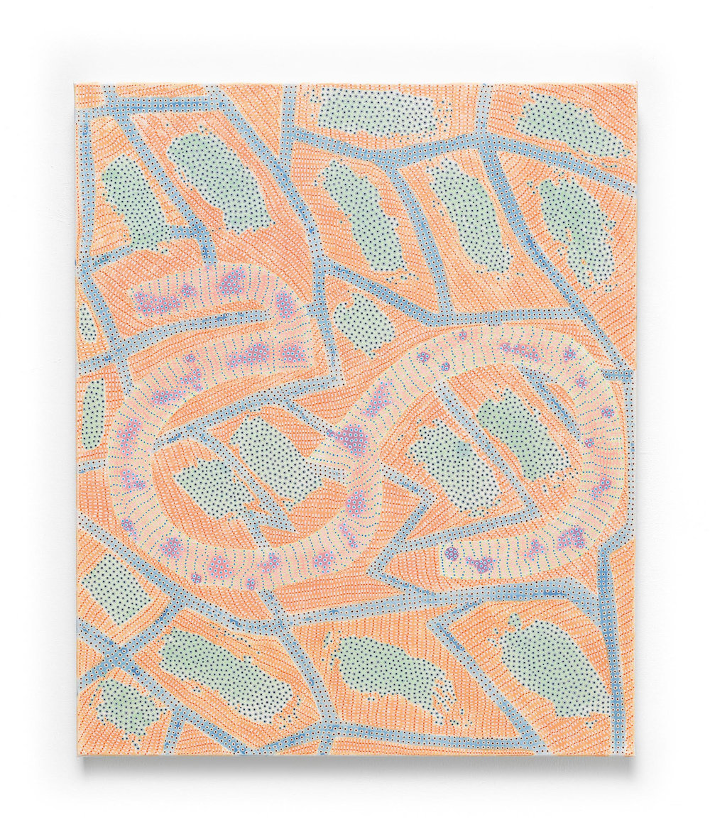 Nadia Haji Omar, Ha , 2017, Acrylic and dye on canvas, 24 x 20 inches (60.96 x 50.8 cm)