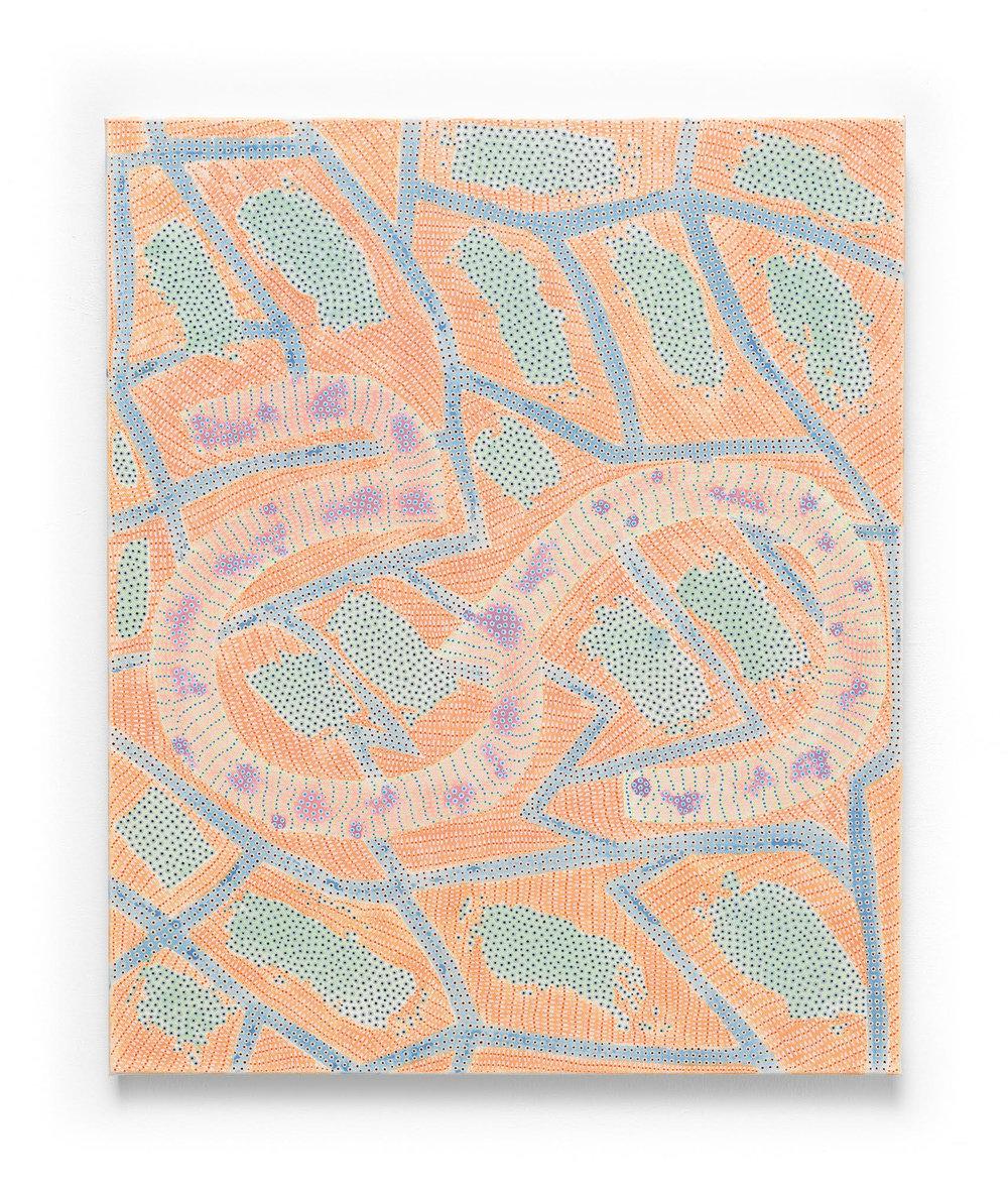 Nadia Haji Omar,  Ha , 2017, Acrylic and dye on canvas, 24 x 20 inches (60.96 x 50.8 cm), Hallmark Art Collection, Kansas City, MO