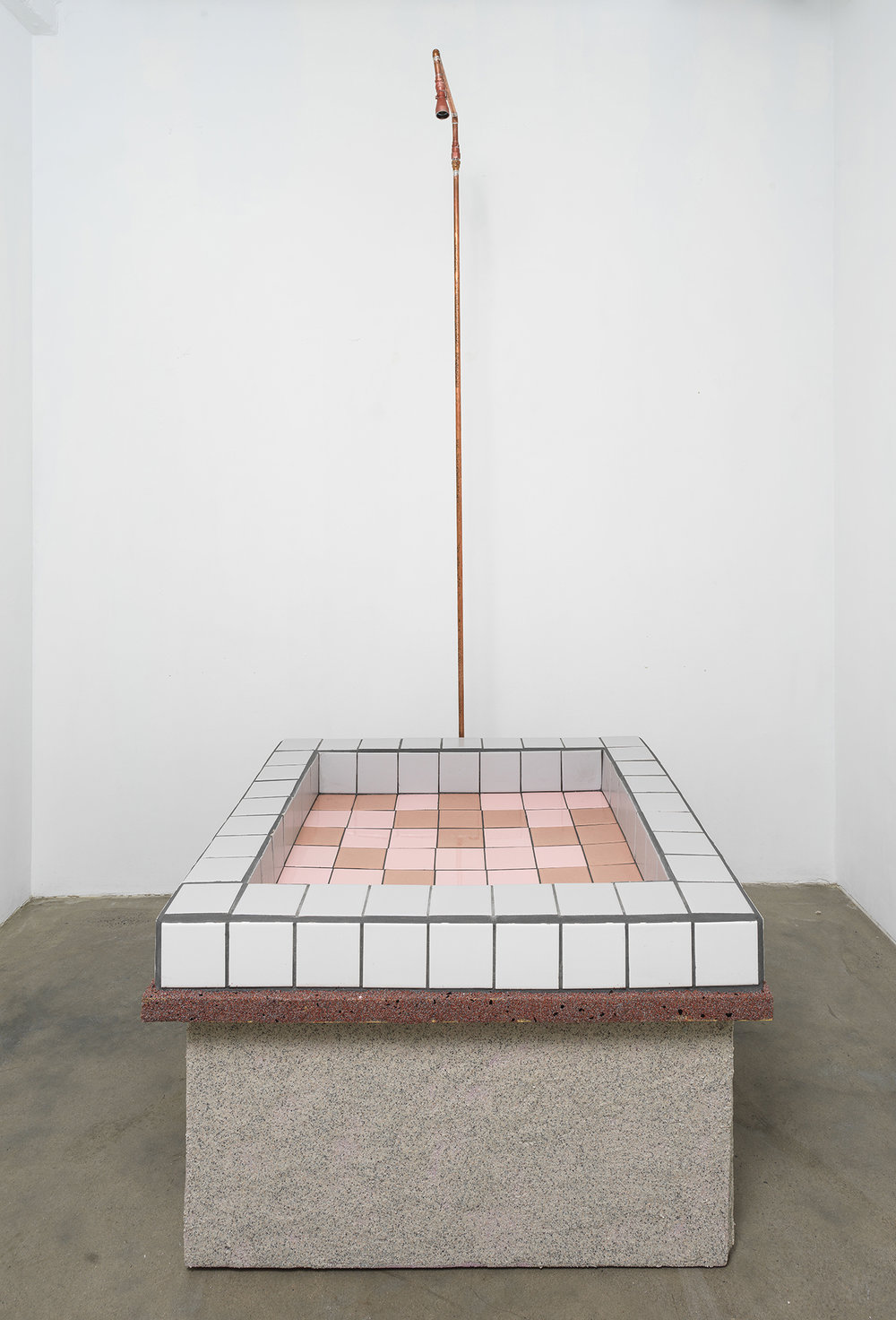 Rachel Higgins,  Public Fountain , 2018, Wood, pvc, cement, mortar, tiles, pump, copper plumbing components, polystyrene, synthetic stone, 96 x 42 x 42 inches, RH30