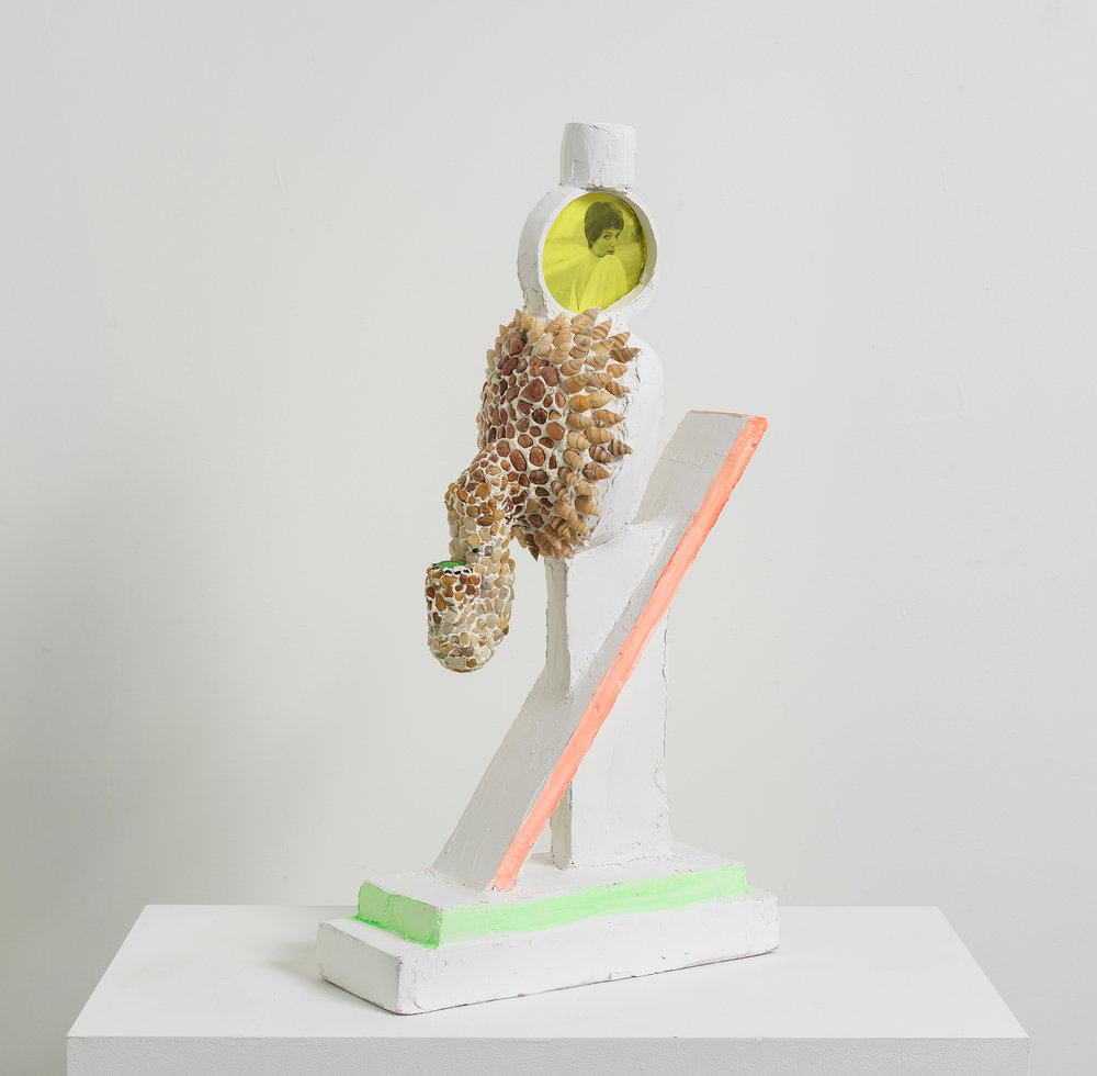 Michael Wetzel ,  Graffix II , 2018, Polystyrene, aqua resin, plaster, pigment, casein, shells, colored plexiglass, pebbles, Xerox print, 22 x 12 x 4 1/4 inches