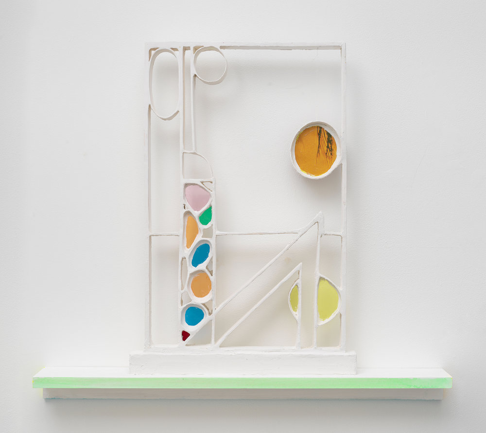 Michael Wetzel ,  Little Tuesday , 2018, Aqua resin, plaster, rag board, colored plexiglass, poster, wood, casein, 24 x 28 1/2 x 4 inches