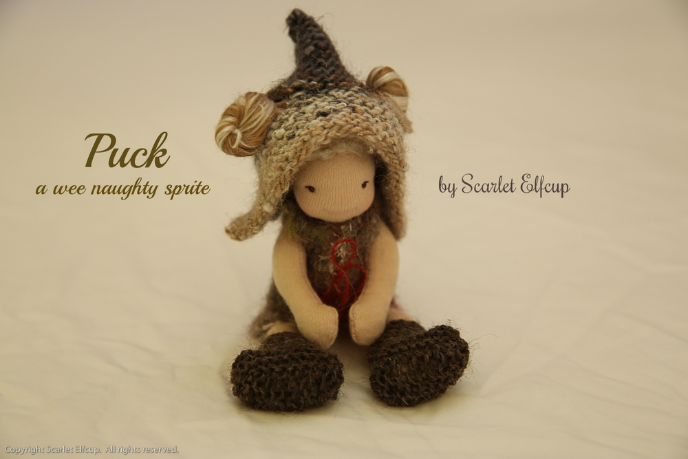 The wee naughty Puck now resides in the Kingdom of Saskatchewan, Canada with her wee sweet queen, a little girl. To read more about this itty-bitty sprite, click  here .