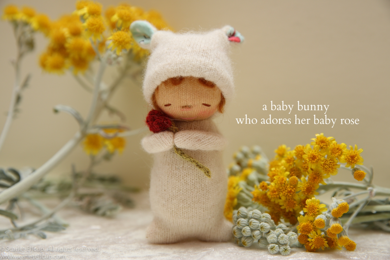 """Baby Bunny, a 4"""" Yummy Tummy Baby Elfcup"""