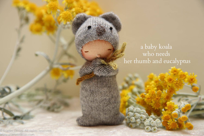 "Baby Koala, a 4"" Yummy Tummy Baby Elfcup"