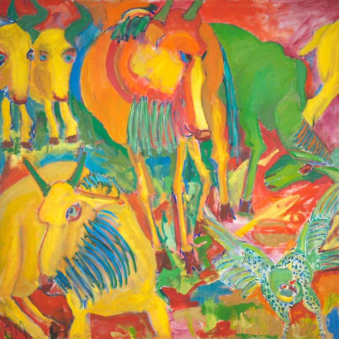 "Sun Dance  60"" x 60""  oil on canvas"