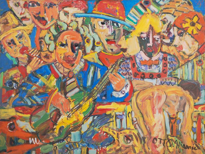 "Musician at Union Square    66"" x 50""  oil on canvas"