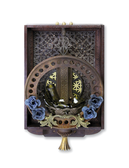 "Broken Roses 10""x17""x5""  Assemblage (decorative silver, stove part, door latch, rose drawer pulls, wine bottle, lamp part, gear, brass finial)"