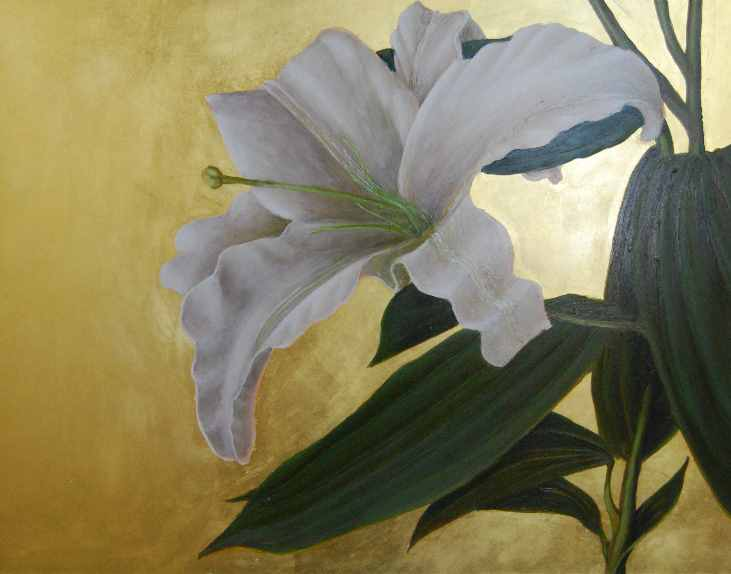 "Lily 1  oil and gold leaf on panel  11""x14"""