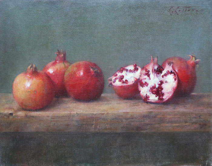 "Carlos Castano  Pomegranate  16 1/2""x20""  oil on linen"