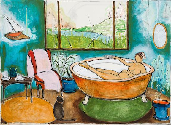 """Diana Bathes,"" 60""x80,"" acrylic on paper"