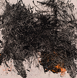 """""""Pussy Got Pissed, """" 24""""x24, """" sumi ink, size small orange latex glove, staples, acrylic on wood."""