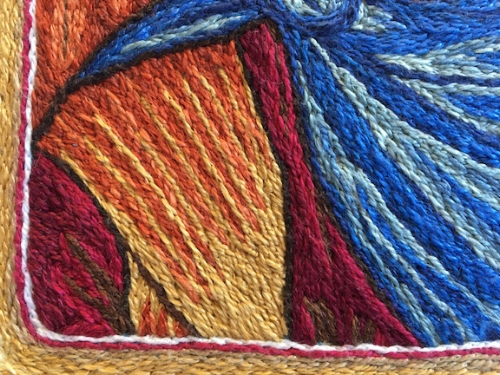 Guardian Angel detail, DMC#5 Cotton Pearl thread on linen