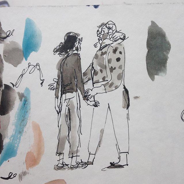 Two old friends spotting each other on r. das laranjeiras  #illustration #riosketchbook #sketchbook