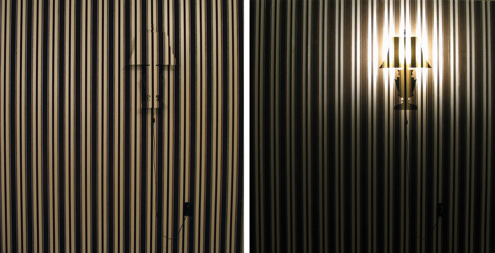WALL LAMP   2004. Wallpaper and acrylic.
