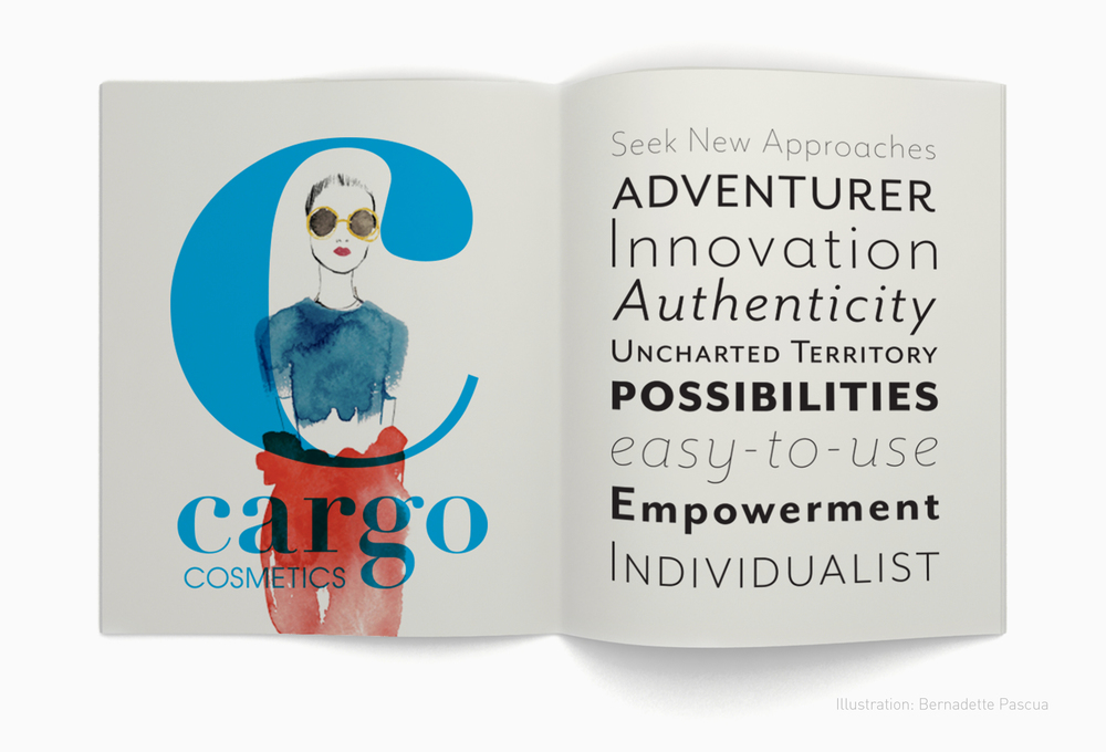 Illustrators,  Bernadette Pascua  (above) and   Meegan Barnes  , were recommended to Cargo to help define a subtly cool, free-hand, approach to Cargo's new brand language. Primary font, Mr. Eaves, with its multiple alternate feminine and masculine styles, was suggested to create a bold and layered voice.