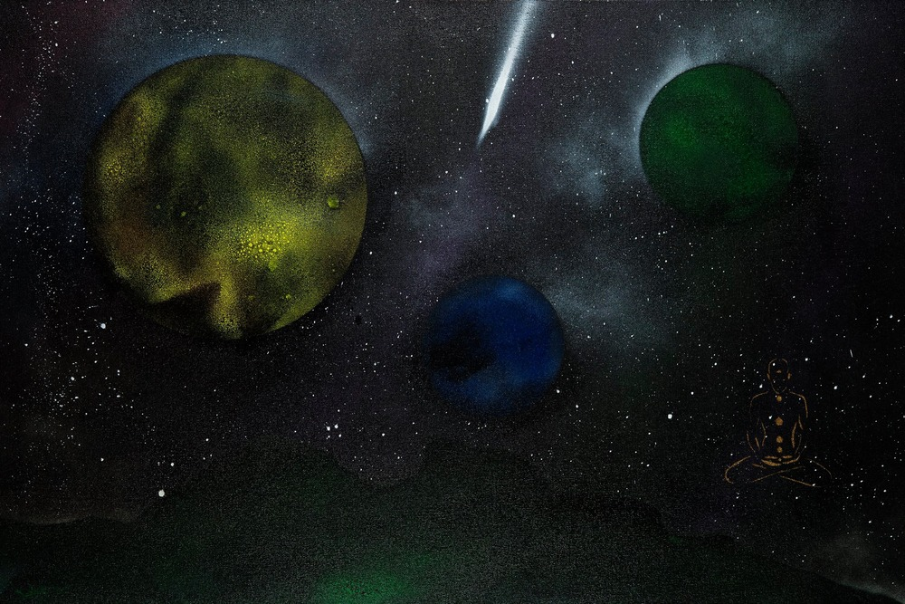 """This painting was inspired by my troubles with my heart. The green landscape represents my heart black with weight from guilt. The golden Self sitting in meditation awaiting the white light healing, represented by the comet headed toward the landscape."""