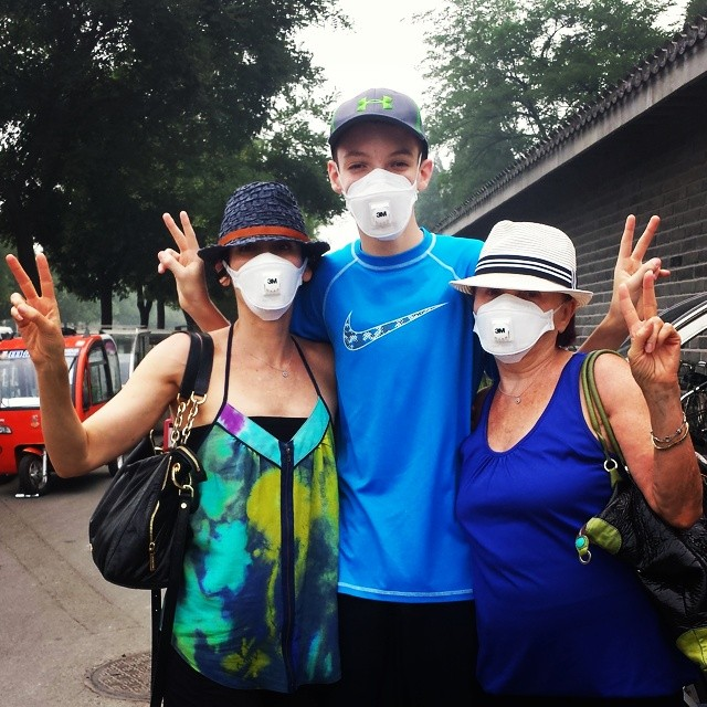 Wearing masks to block pollution in Beijing, China