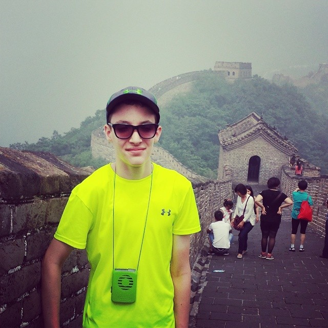 View from the top of the world on the Great Wall of China in Beijing Province, China.
