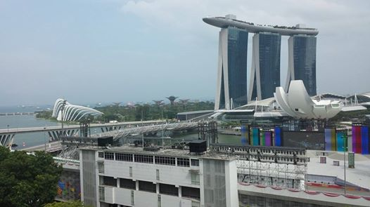 Marina Bay Sands Hotel overlooking Singapore Bay and Harboure.