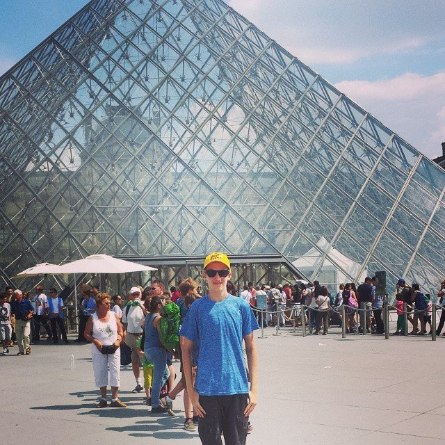 Famous Louvre Glass Pyramid Entrance, Paris, France.