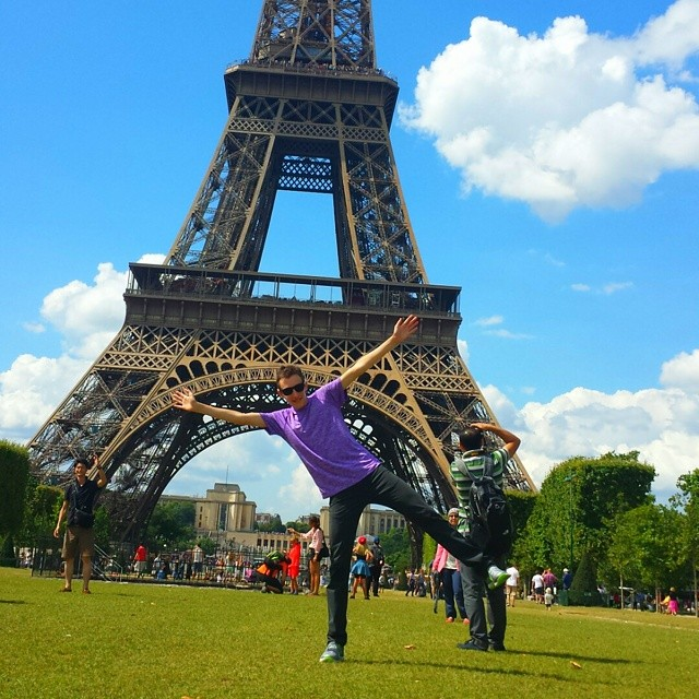 Flipping at the Eifel Tower, Paris, France.