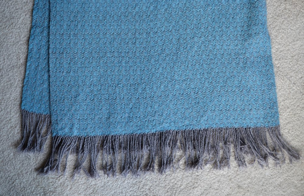 blanket scarf handwoven on 8 shaft weaving loom / warporweft.com