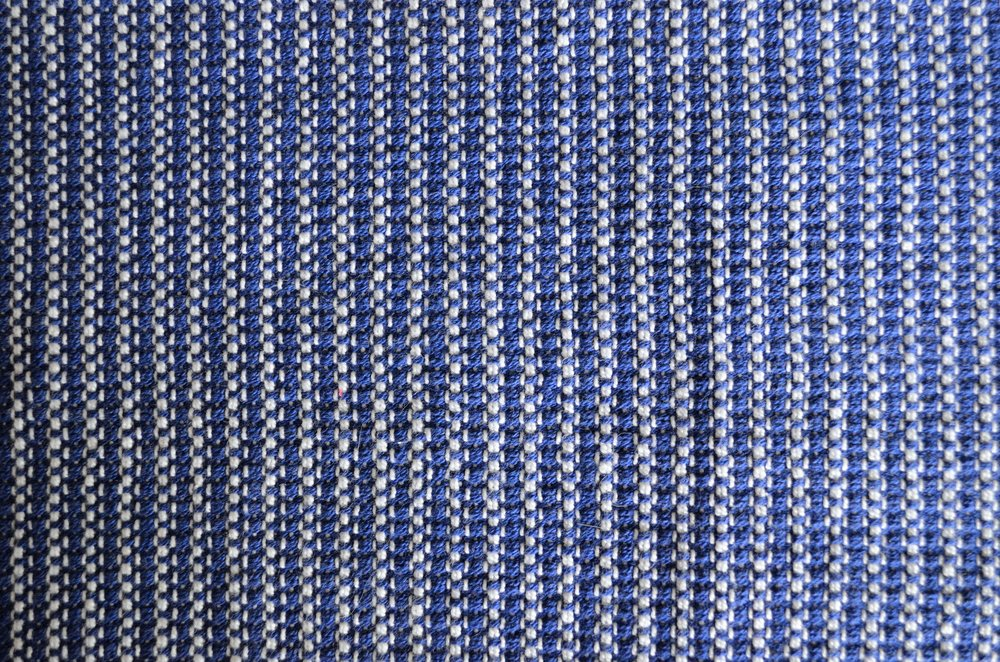bleach warp and blue weft in 8/2 cotton