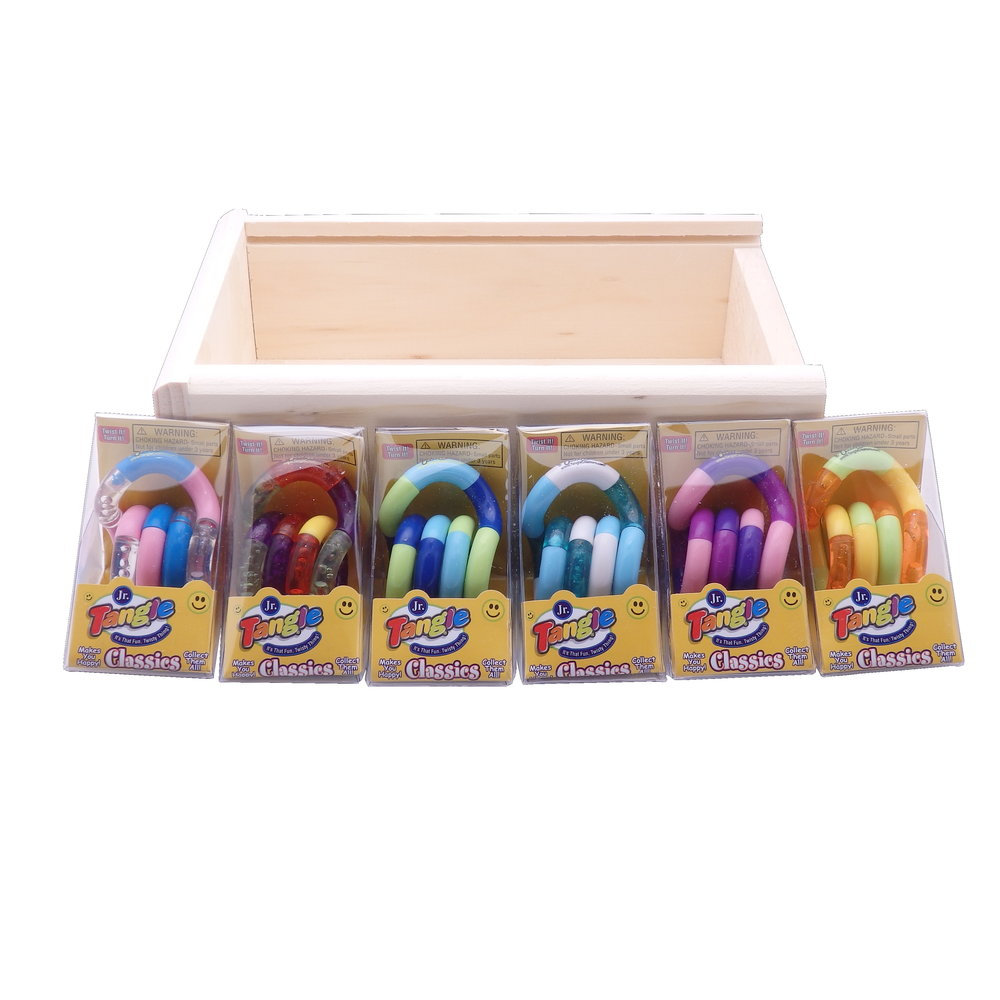 Set Of 8 Tangle Jr. Original Fidget Toys In Wooden Storage Box