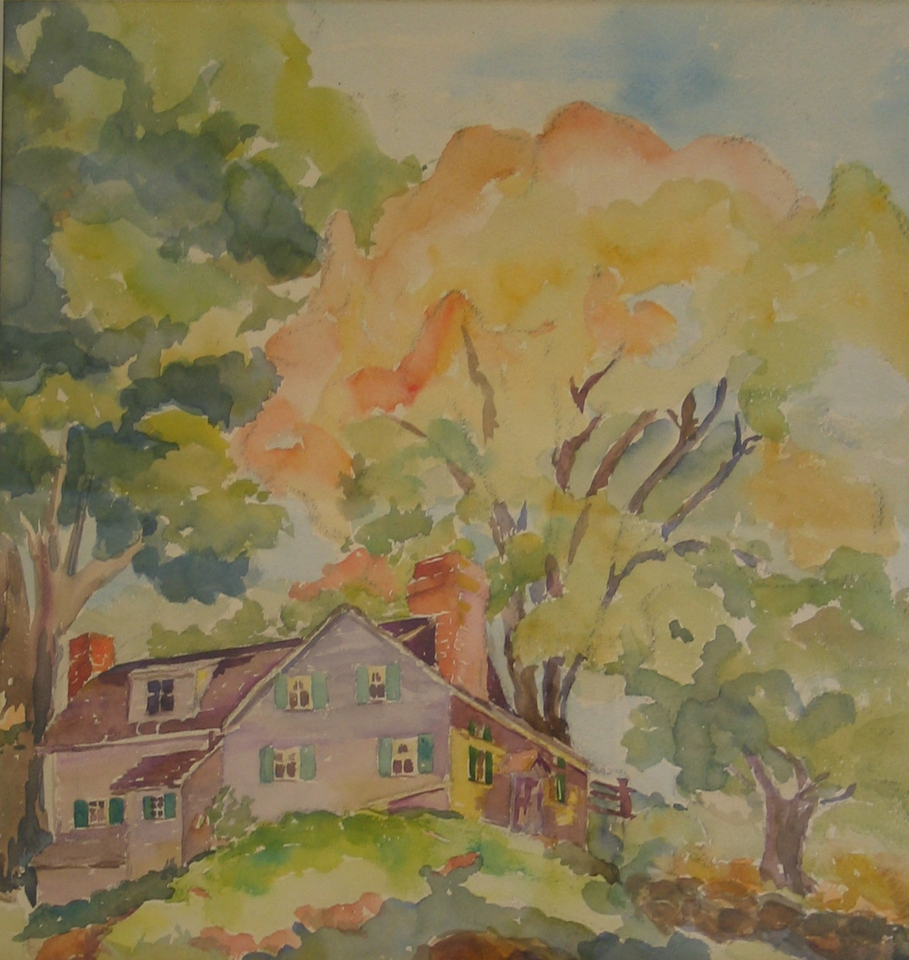 Untitled watercolor - house in the woods
