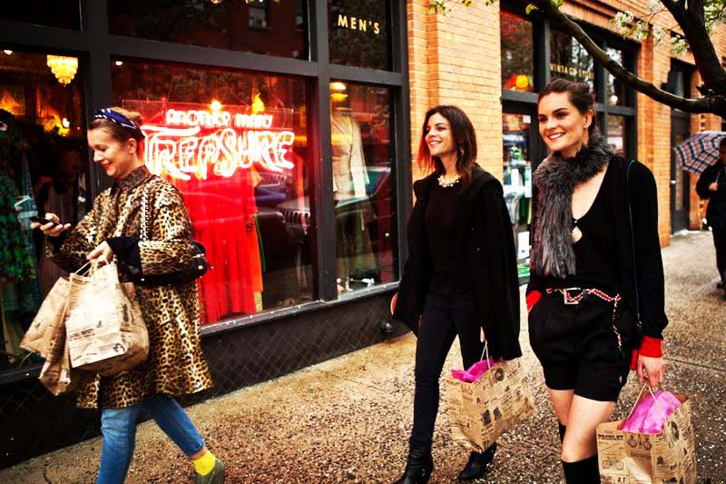 Natalie Joos, Anouck Lapere, & Julia Restoin Roitfeld leaving Another Man's Treasure