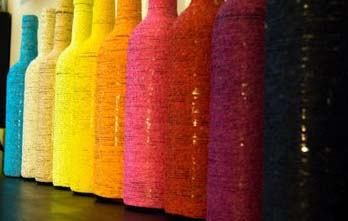 #1  String Wrapped Wine Bottles