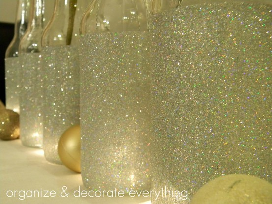 #3 Glittered Wine Bottles