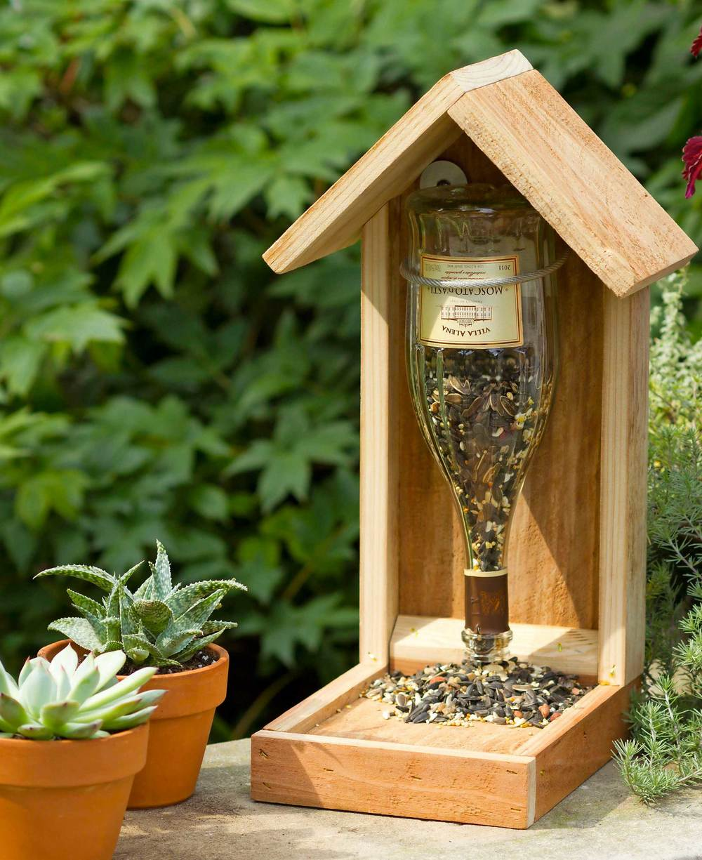 Wine Bottle Bird Seed Feeder