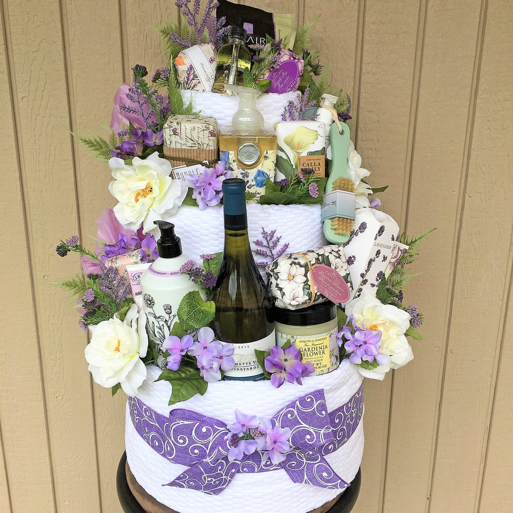 Garden Spa Cake Tower Gift Basket