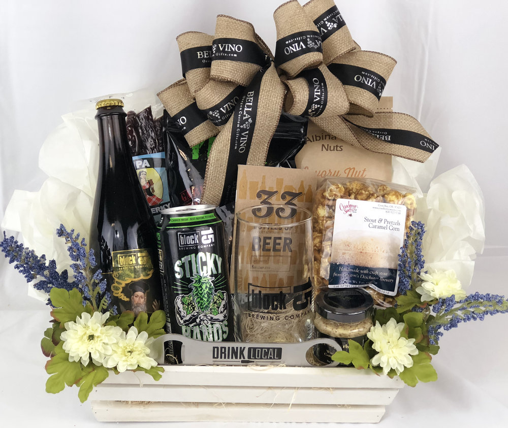 Example of a beer basket designed for a female. Contents are not exact to this gift option.