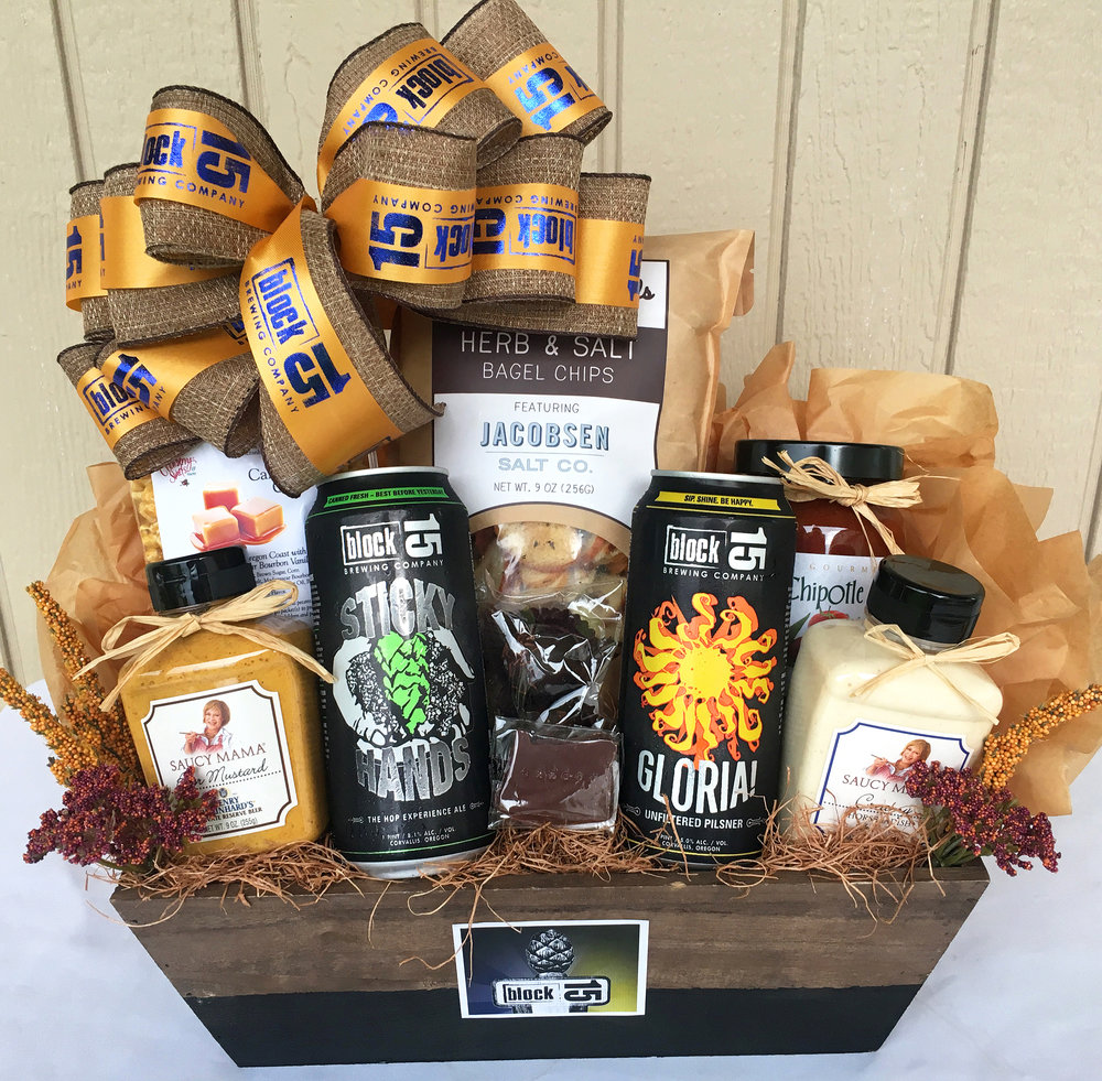Representing look only, not exact contents. Example of a Block 15 gift basket with logo bow. Containers will vary.