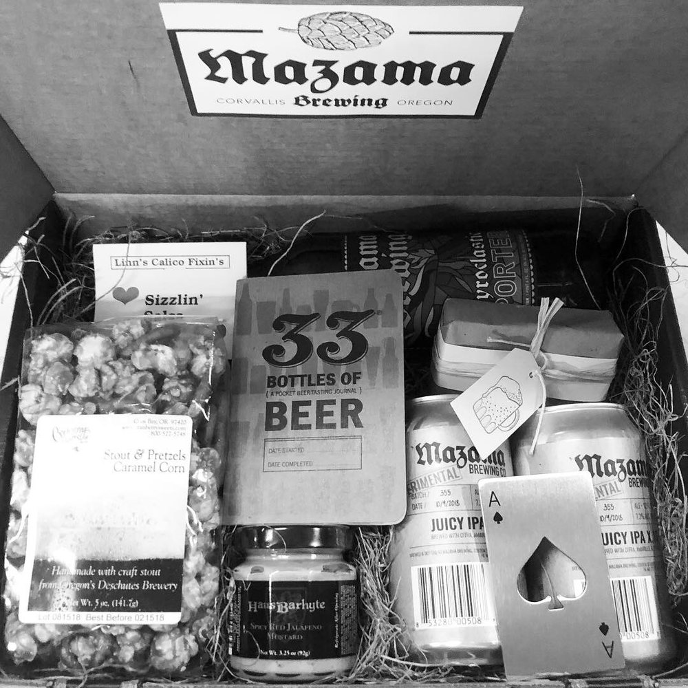 """Make it Personal - Customize any gift for anyone! Want to add something not included in options?Select """"Mazama Brewing"""" and """"Gift Box"""" on our Custom Gift Order Form and choose the perfect contents."""