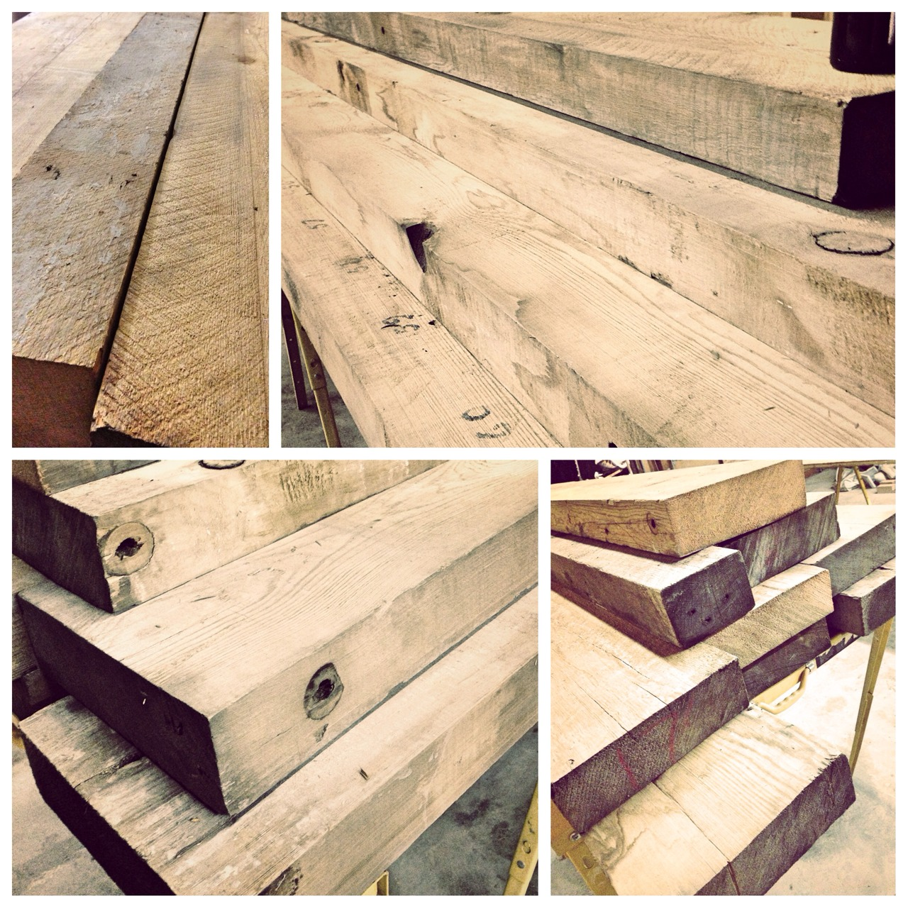 100 year old reclaimed timbers being used on our next project